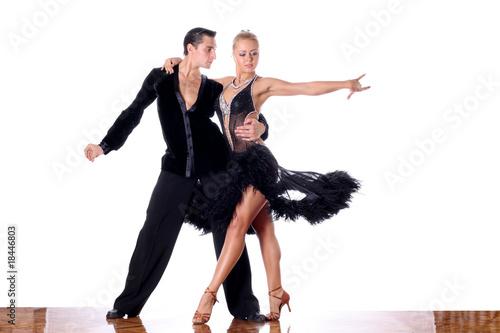 Stampa su Tela dancers in ballroom against white background