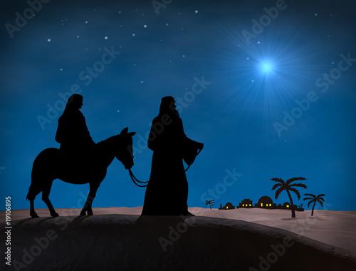 Leinwand Poster Bethlehem Weihnachten. Sterne im Nachthimmel über Maria und Josef