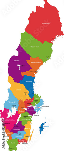 Canvas Print Vector color map of administrative divisions of Sweden