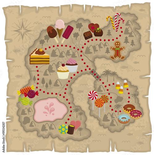 Ilustracja mapy krainy marzeń dla dzieci - mapa ziemi cukierków i słodyczy