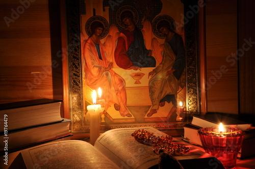 Fototapeta Russian Icon Holy Trinity, books and flame