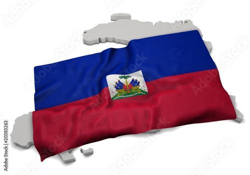 Fotografiet realistic ensign covering the shape of Haiti ( Haïti - Ayiti )