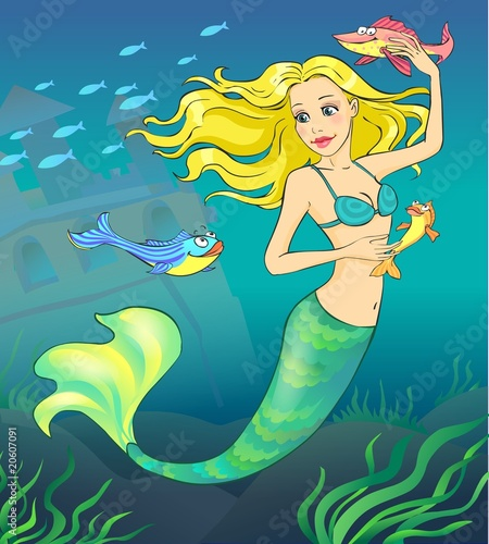 mermaid and fishes in the ocean depth