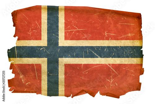 Wallpaper Mural Norwegian Flag old, isolated on white background.