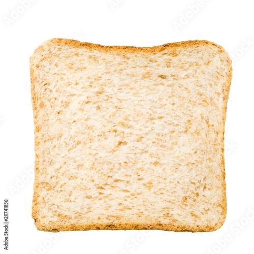 tranche de pain sur fond blanc
