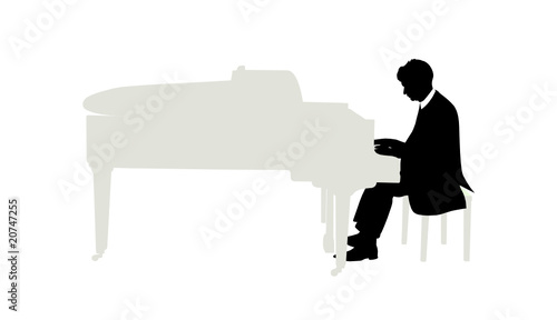 Fotografia Vector illustration of pianist plays on grand piano