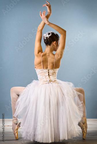 Fototapeta premium Widok z tyłu wdzięku baleriny