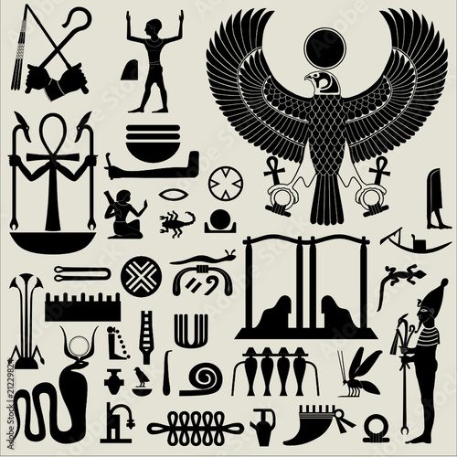 Canvas Print Egyptian Symbols and Signs silhouettes Set 2