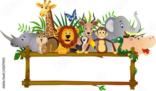 Animal cartoon and blank sign #21679455