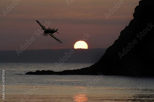 Spitfire above Devon Fototapeta