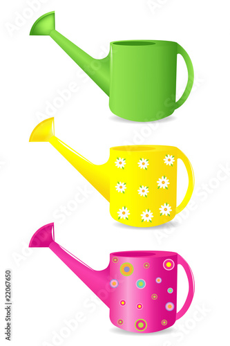 Canvas Print Colorful Watering cans
