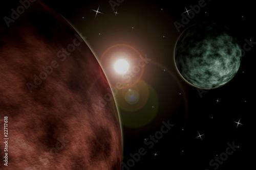 Planet mit Mond #22717618