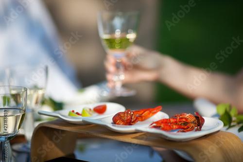 Slika na platnu garnelen und weißwein