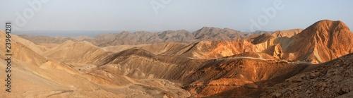 Fotografering Desert landscape panorama at sunset