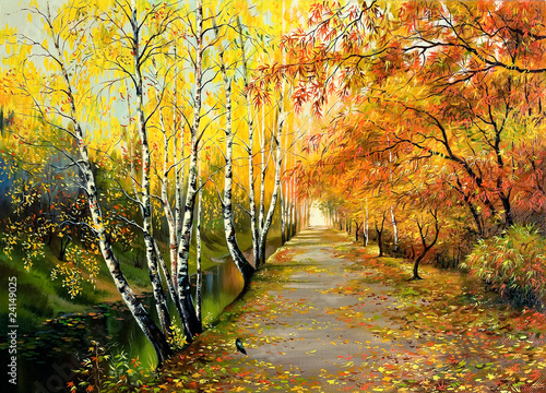 Autumn road along the channel