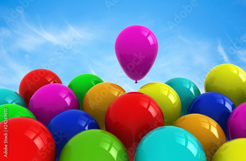 Balloons with sky background