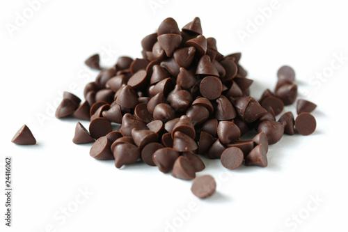 Obraz na plátně Chocolate Chips on White Background