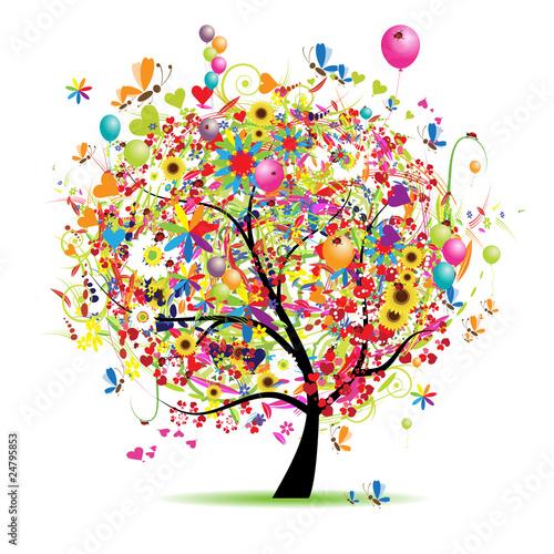 Happy holiday, funny tree with balloons #24795853