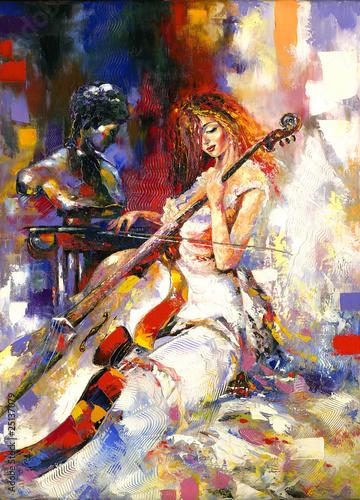 The girl and a violoncello