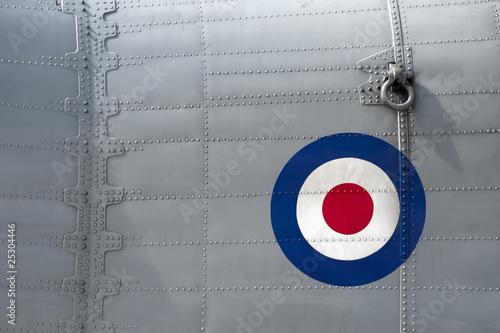 riveted panel on a vintage british military aircraft Fototapeta