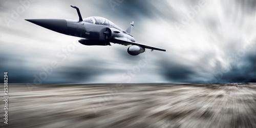 Fototapeta Military airplan on the speed