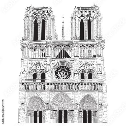 Obraz na plátně Vector image of Notre Dame de Paris