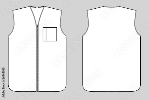 Canvas Print Worker waistcoat with zipper and pocket