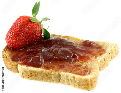 tartine à la confiture de fraises