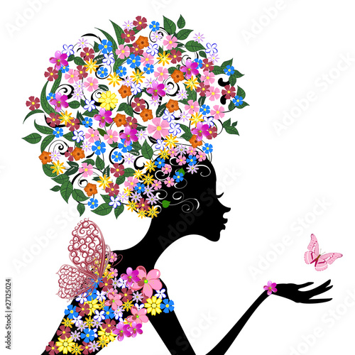 Girl with flowers on her head #27125024