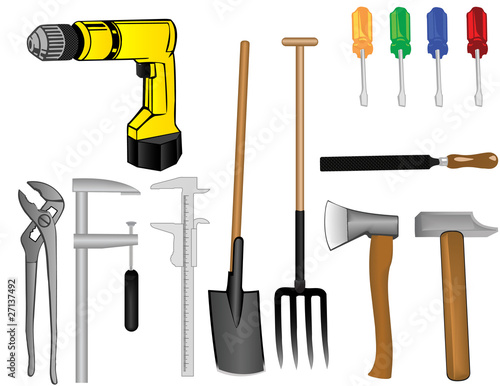 Fototapeta Vector a tooling a drill an axe a hammer a pitchfork a shovel of