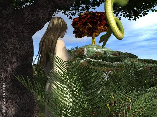 Slika na platnu Serpent tempts Eve in the Garden of Eden