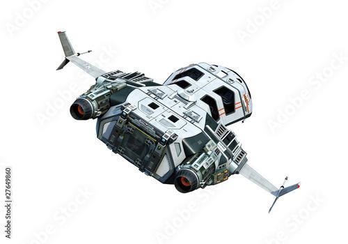 Fotografie, Obraz spaceship flying back white background