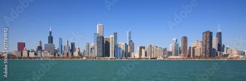 Chicago city skyline panoramic