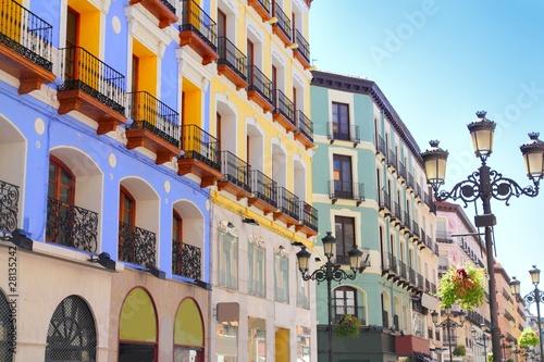 Zaragoza city Spain Alfonso I street coloful building