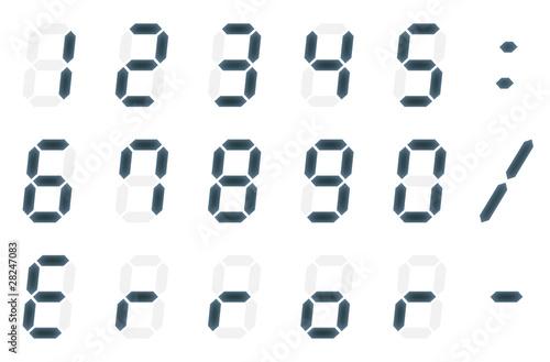 デジタルの数字と文字 Fotobehang