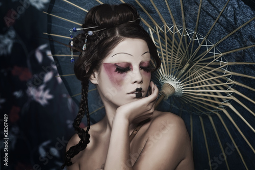 Fotografie, Obraz portrait of a beautiful white girl in geisha style