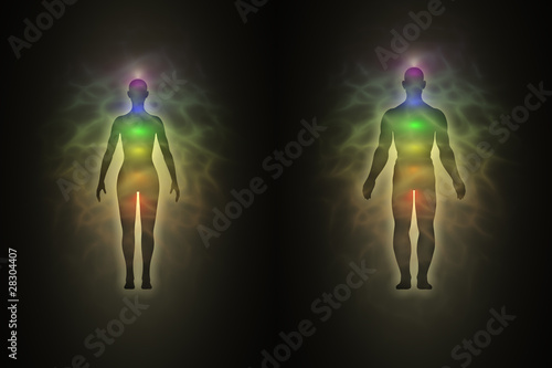 Fotografering Woman and man silhouette with aura, chakras, energy