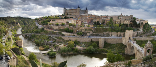 Panoramic view in the old city in Toledo. Spain