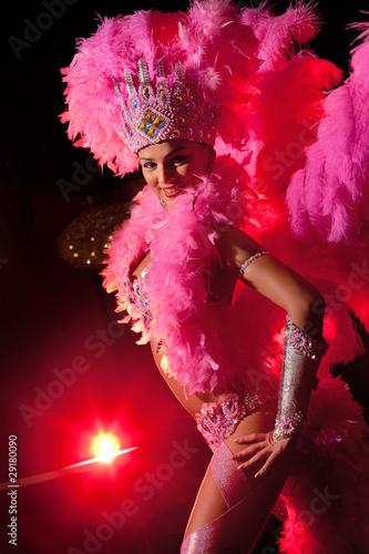 cabaret dancer over dark background Fototapeta