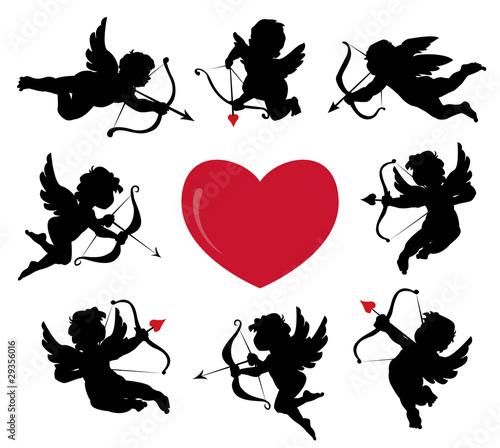 Fotografia set of cute cupid silhouettes