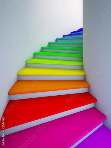 Fototapeta premium Spiralne kolorowe schody do przyszłości.