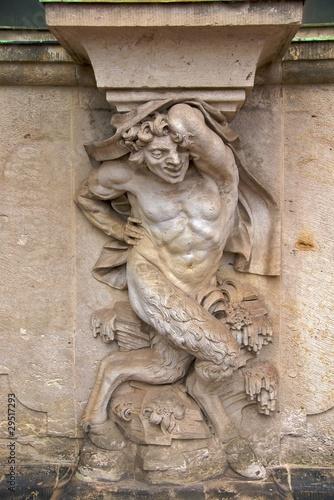 Fotografie, Obraz Satyr on column of Zwinger Palace Wallpavillion, Dresden