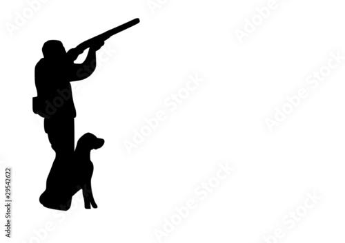 Chasseur et chien Fototapeta