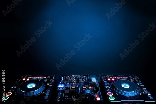 DJ turntables and electronic mixer