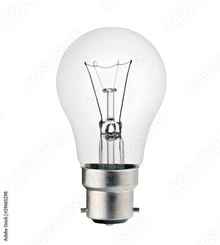 Fotografia Lightbulb with Bayonet Fitting Isolated on White