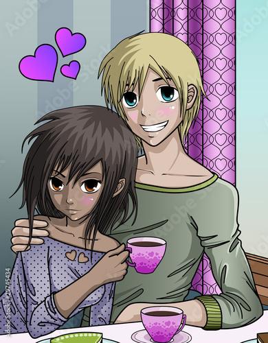 Cute anime style couple enjoying valentines day