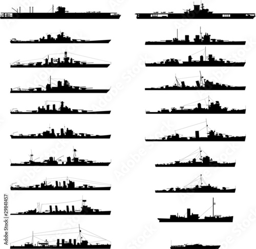 Photo Illustration of 20 different warships in vector.