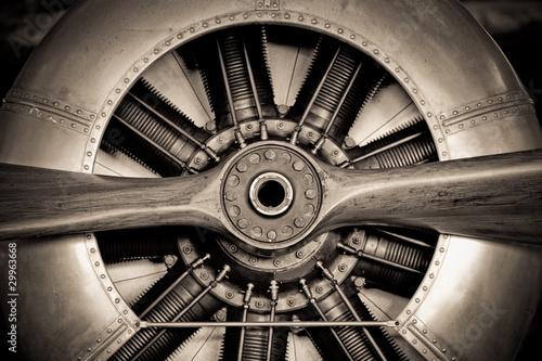 Canvas Print vintage propeller aircraft engine closeup