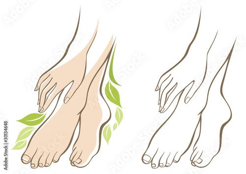 Beautiful female hands and feet #30134648