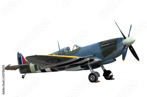 beautifully restored vintage WW2 Spitfire isolated on white Fototapeta